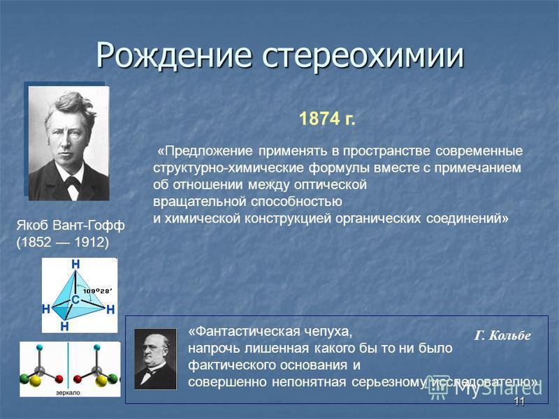 11 Рождение стереохимии Якоб Вант-Гофф (1852 1912) 1874 г. «Предложение применять в пространстве современные структурно-химические формулы вместе с примечанием об отношении между оптической вращательной способностью и химической конструкцией органиче