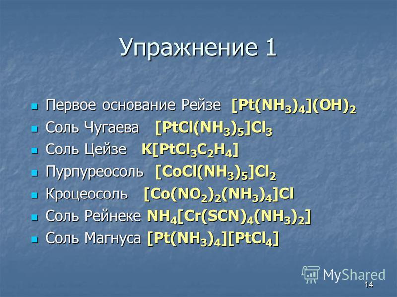 14 Упражнение 1 Первое основание Рейзе [Pt(NH3)4](OH)2 Соль Чугаева [PtCl(NH3)5]Cl3 Соль Цейзе K[PtCl3C2H4] Пурпуреосоль [CoCl(NH3)5]Cl2 Кроцеосоль [Co(NO2)2(NH3)4]Cl Соль Рейнеке NH4[Cr(SCN)4(NH3)2] Соль Магнуса [Pt(NH3)4][PtCl4]