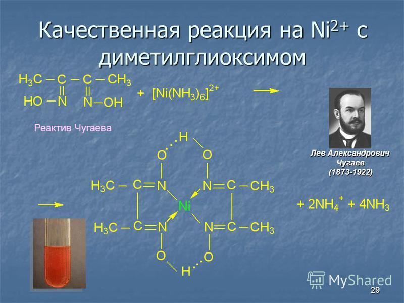 29 Качественная реакция на Ni 2+ c дометилглиоксимом Реактив Чугаева Лев Александрович Чугаев(1873-1922)