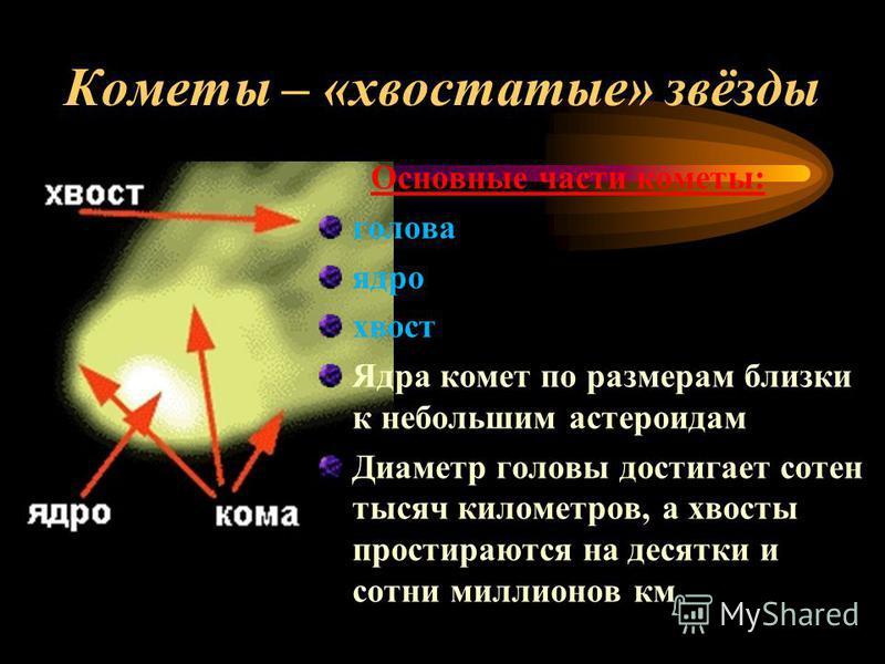 Кометы – «хвостатые» звёзды Основные части кометы: голова ядро хвост Ядра комет по размерам близки к небольшим астероидам Диаметр головы достигает сотен тысяч километров, а хвосты простираются на десятки и сотни миллионов км