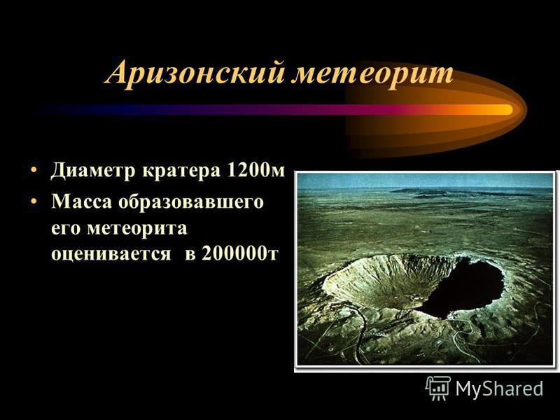 Аризонский метеорит Диаметр кратера 1200 м Масса образовавшего его метеорита оценивается в 200000 т