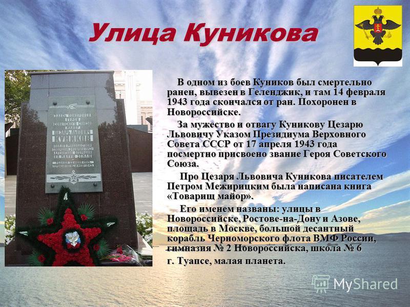 Улица Куникова В одном из боев Куников был смертельно ранен, вывезен в Геленджик, и там 14 февраля 1943 года скончался от ран. Похоронен в Новороссийске. В одном из боев Куников был смертельно ранен, вывезен в Геленджик, и там 14 февраля 1943 года ск
