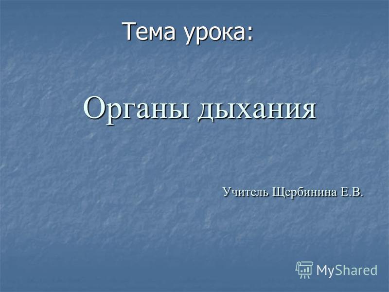 Органы дыхания Учитель Щербинина Е.В. Тема урока: