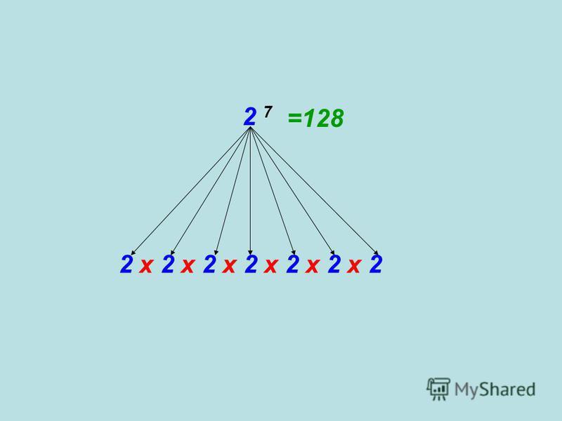 2 7 2 х 2 х 2 х 2 х 2 х 2 х 2 =128