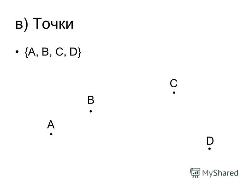 в) Точки {A, B, C, D} A B C D