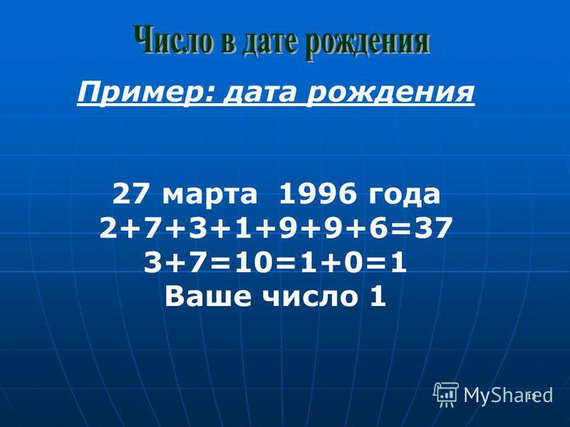 13 Пример: дата рождения 27 марта 1996 года 2+7+3+1+9+9+6=37 3+7=10=1+0=1 Ваше число 1
