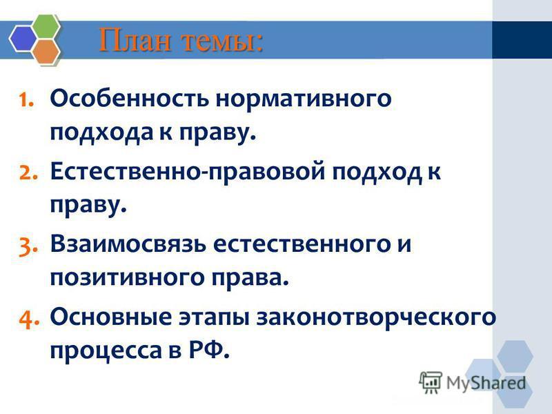 План темы: 1. Особенность нормативного подхода к праву. 2.Естественно-правовой подход к праву. 3. Взаимосвязь естественного и позитивного права. 4. Основные этапы законотворческого процесса в РФ.