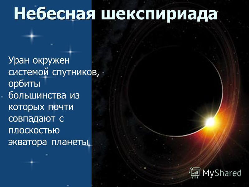 Небесная шекспириада Уран окружен системой спутников, орбиты большинства из которых почти совпадают с плоскостью экватора планеты
