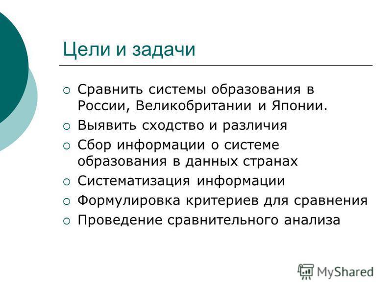 Цели и задачи Сравнить системы образования в России, Великобритании и Японии. Выявить сходство и различия Сбор информации о системе образования в данных странах Систематизация информации Формулировка критериев для сравнения Проведение сравнительного