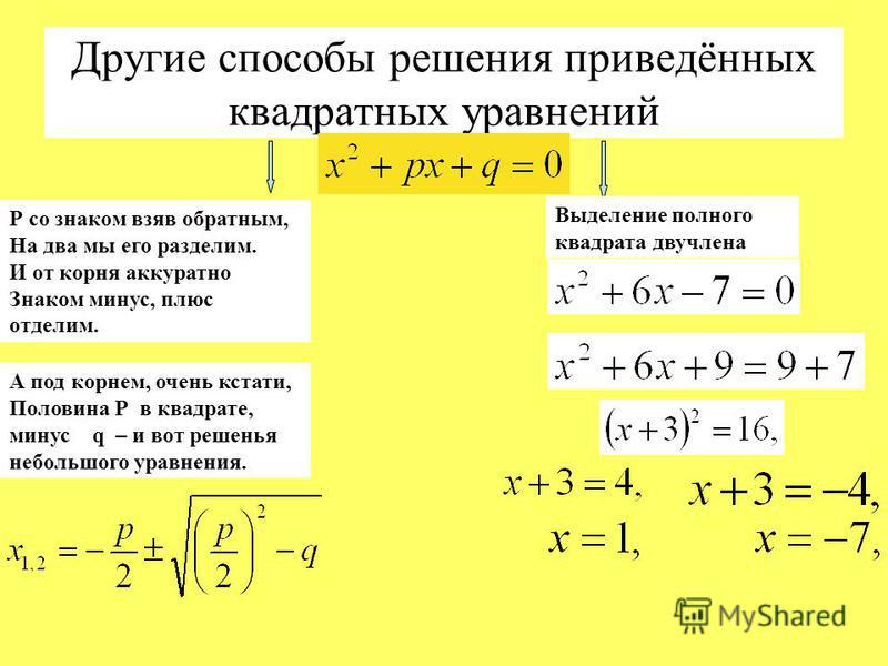 Р со знаком взяв обратным, На два мы его разделим. И от корня аккуратно Знаком минус, плюс отделим. А под корнем, очень кстати, Половина Р в квадрате, минус q – и вот решенья небольшого уравнения. Другие способы решения приведённых квадратных уравнен