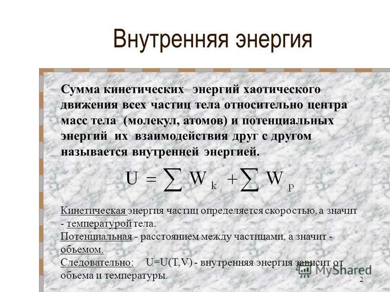 Внутренняя энергия Сумма кинетических энергий хаотического движения всех частиц тела относительно центра масс тела (молекул, атомов) и потенциальных энергий их взаимодействия друг с другом называется внутренней энергией. Кинетическая энергия частиц о