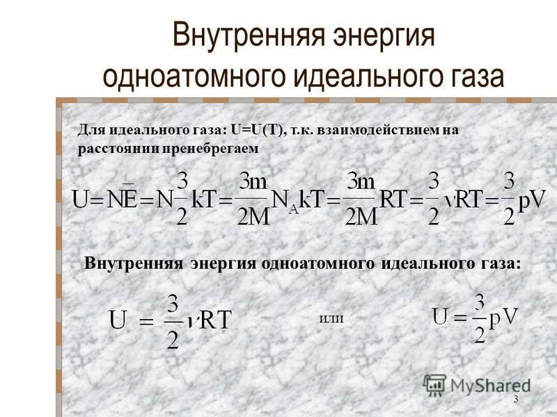 Внутренняя энергия одноатомного идеального газа Для идеального газа: U=U(T), т.к. взаимодействием на расстоянии пренебрегаем или Внутренняя энергия одноатомного идеального газа: 3