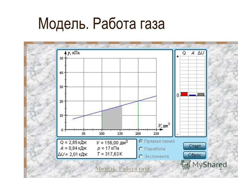 Модель. Работа газа 7