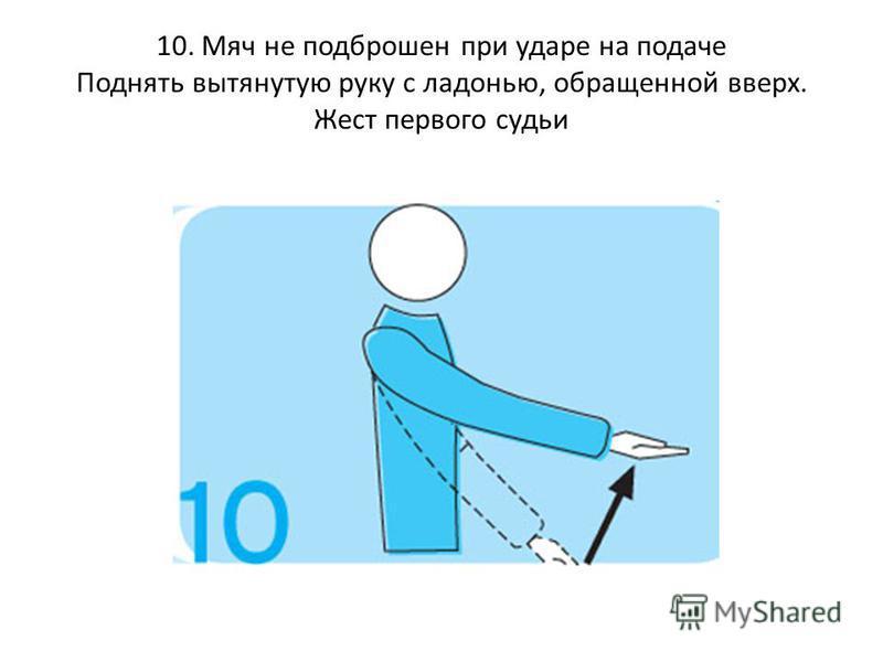 10. Мяч не подброшен при ударе на подаче Поднять вытянутую руку с ладонью, обращенной вверх. Жест первого судьи