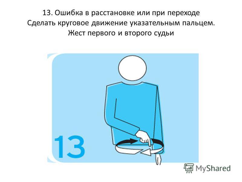 13. Ошибка в расстановке или при переходе Сделать круговое движение указательным пальцем. Жест первого и второго судьи