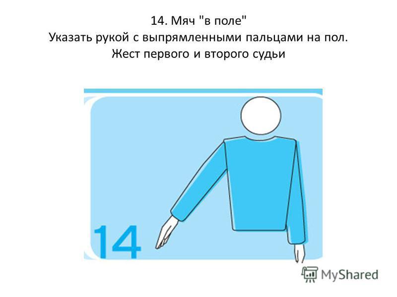 14. Мяч в поле Указать рукой с выпрямленными пальцами на пол. Жест первого и второго судьи