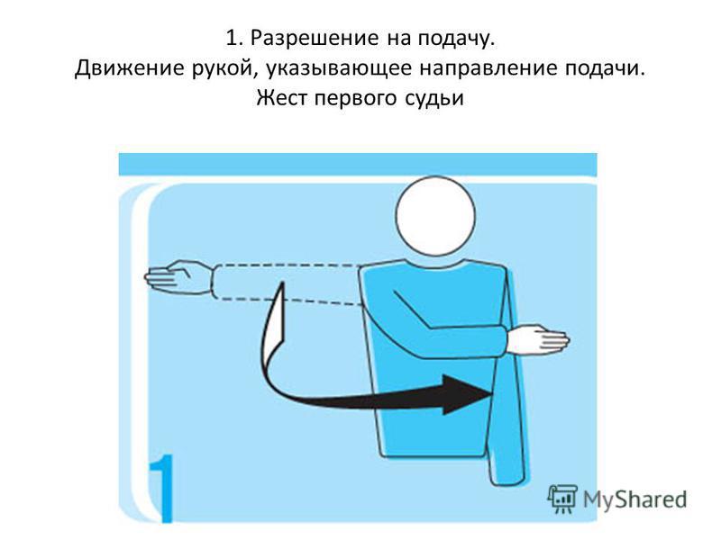 1. Разрешение на подачу. Движение рукой, указывающее направление подачи. Жест первого судьи