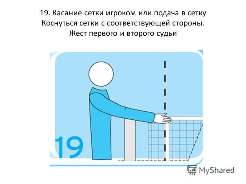 19. Касание сетки игроком или подача в сетку Коснуться сетки с соответствующей стороны. Жест первого и второго судьи