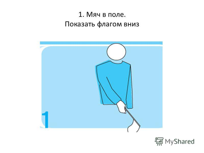 1. Мяч в поле. Показать флагом вниз