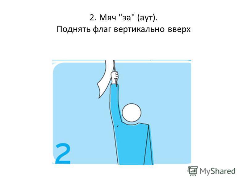 2. Мяч за (аут). Поднять флаг вертикально вверх