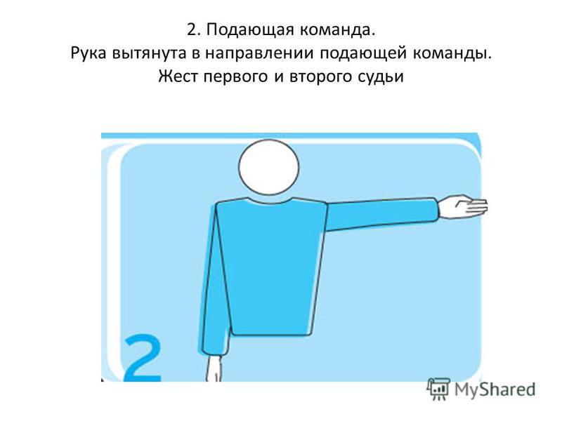 2. Подающая команда. Рука вытянута в направлении подающей команды. Жест первого и второго судьи