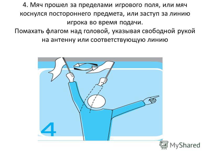 4. Мяч прошел за пределами игрового поля, или мяч коснулся постороннего предмета, или заступ за линию игрока во время подачи. Помахать флагом над головой, указывая свободной рукой на антенну или соответствующую линию