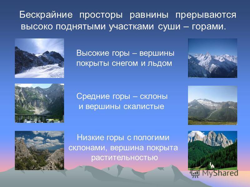 Бескрайние просторы равнины прерываются высоко поднятыми участками суши – горами. Высокие горы – вершины покрыты снегом и льдом Средние горы – склоны и вершины скалистые Низкие горы с пологими склонами, вершина покрыта растительностью