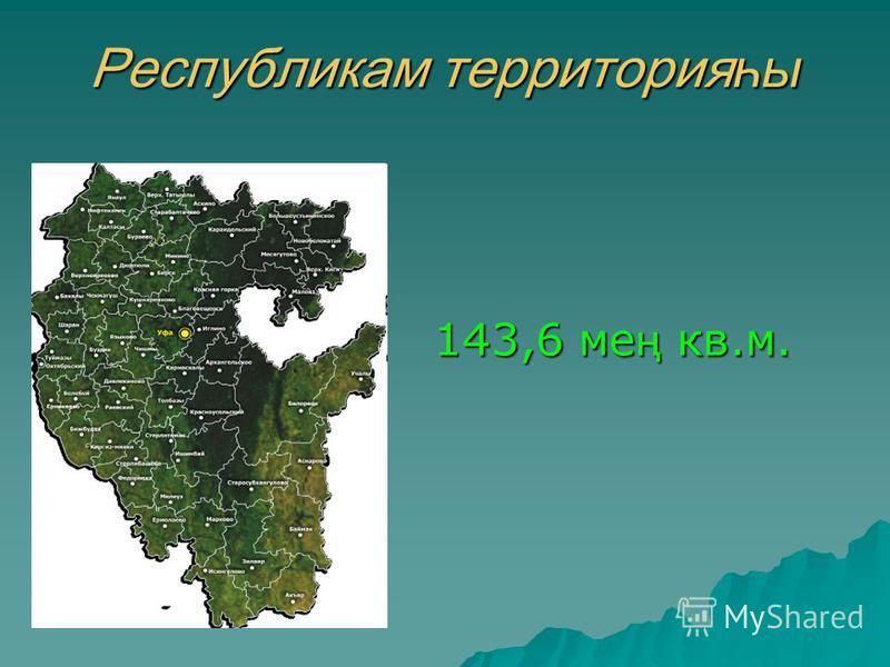 Республикам территорияһ ы 143,6 ме ң кв.м.