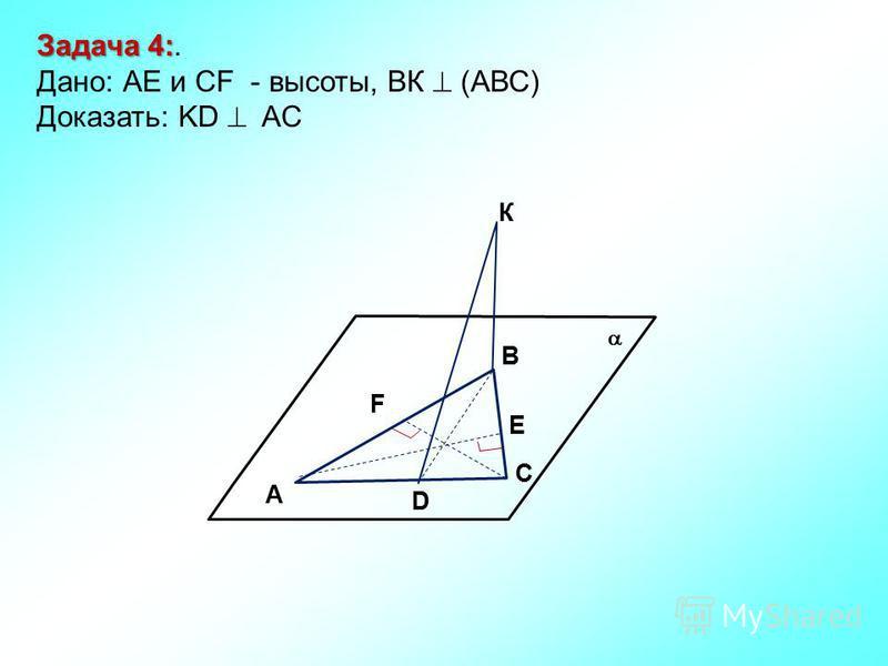 К В С F A D Е Задача 4: Задача 4:. Дано: АЕ и CF - высоты, ВК (АВС) Доказать: KD AC