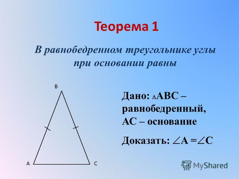 Теорема 1 В равнобедренном треугольнике углы при основании равны Дано: АВС – равнобедренный, АС – основание Доказать: А = С A B C