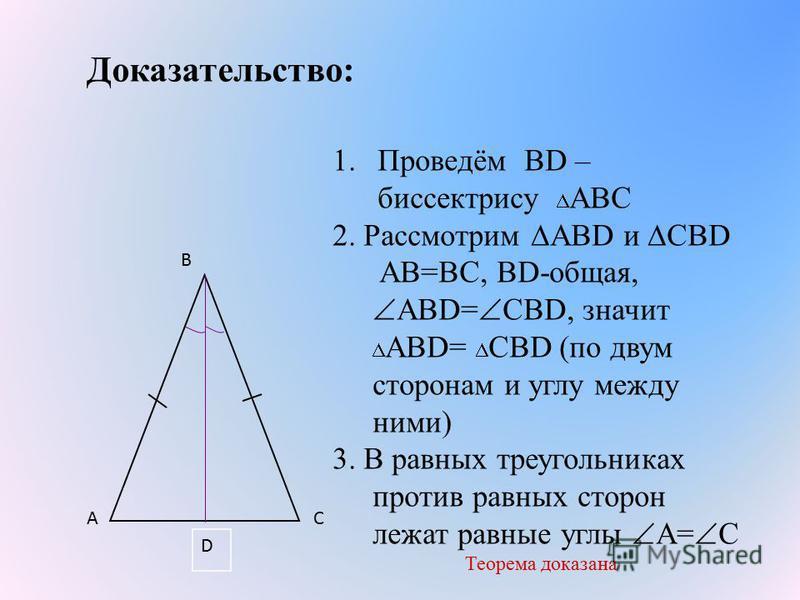 Доказательство: 1.Проведём ВD – биссектрису АВС 2. Рассмотрим АВD и СВD АВ=ВС, ВD-общая, АВD= СВD, значит АВD= СВD (по двум сторонам и углу между ними) 3. В равных треугольниках против равных сторон лежат равные углы А= С Теорема доказана A B C D
