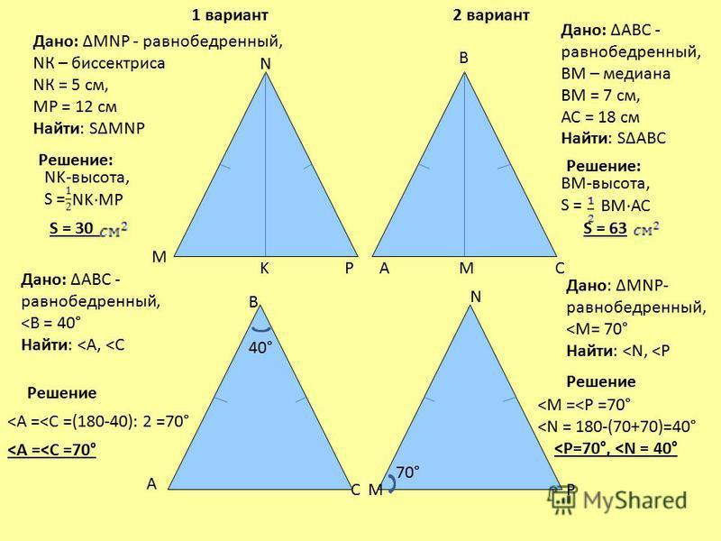 40° 70° A B C Дано: MNP - равнобедренный, NК – биссектриса NК = 5 см, MP = 12 см Найти: SMNP Дано: АВС - равнобедренный, ВМ – медиана ВМ = 7 см, АС = 18 см Найти: SАВС М N P A B CM М N PK Дано: АВС - равнобедренный,
