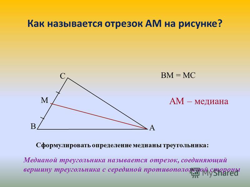 Как называется отрезок АМ на рисунке? Сформулировать определение медианы треугольника: Медианой треугольника называется отрезок, соединяющий вершину треугольника с серединой противоположной стороны АМ – медиана ВМ = МС В М С А