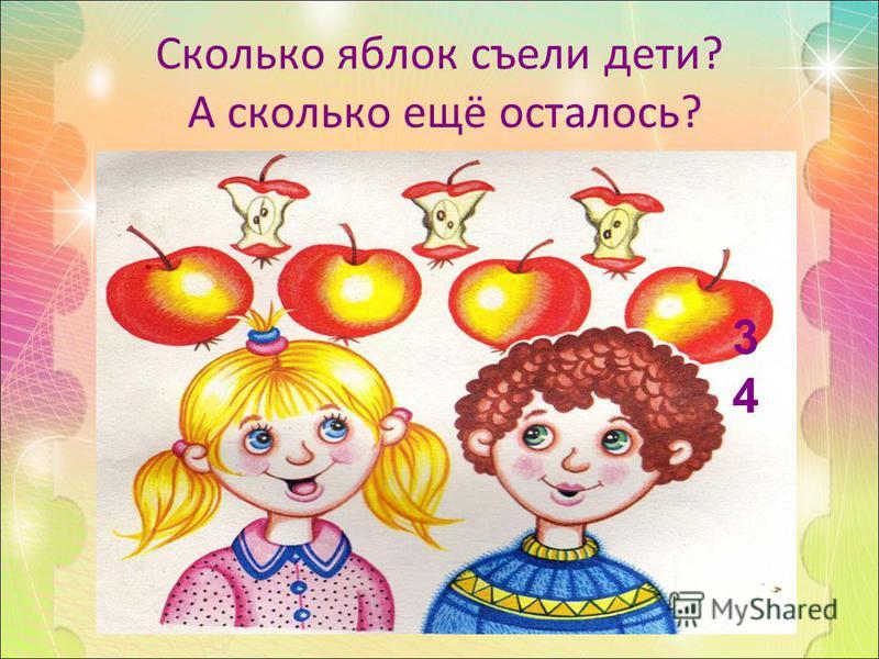 Сколько яблок съели дети? А сколько ещё осталось? 3434