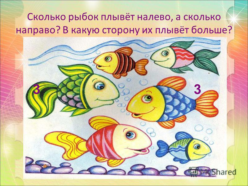 Сколько рыбок плывёт налево, а сколько направо? В какую сторону их плывёт больше? 3