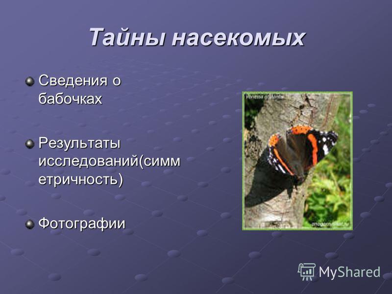 Тайны насекомых Сведения о бабочках Результаты исследований(симметричность) Фотографии