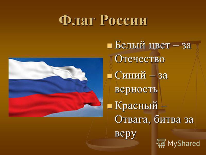 Флаг России Белый цвет – за Отечество Синий – за верность Красный – Отвага, битва за веру