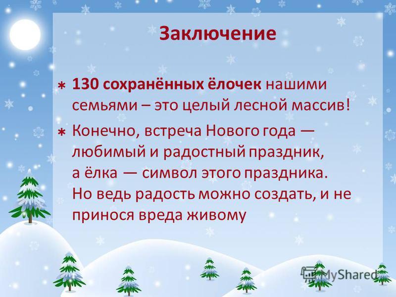 Заключение 130 сохранённых ёлочек нашими семьями – это целый лесной массив! Конечно, встреча Нового года любимый и радостный праздник, а ёлка символ этого праздника. Но ведь радость можно создать, и не принося вреда живому