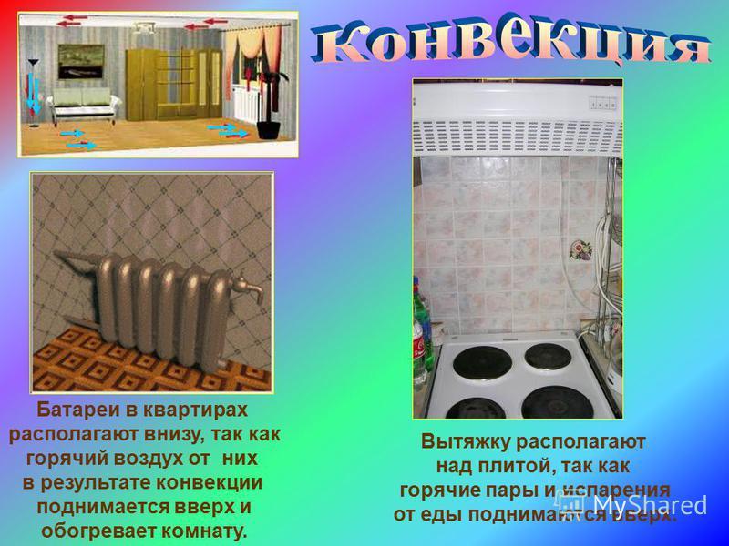 Батареи в квартирах располагают внизу, так как горячий воздух от них в результате конвекции поднимается вверх и обогревает комнату. Вытяжку располагают над плитой, так как горячие пары и испарения от еды поднимаются вверх.