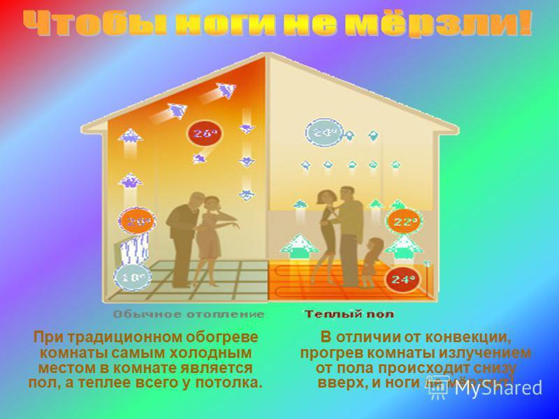 При традиционном обогреве комнаты самым холодным местом в комнате является пол, а теплее всего у потолка. В отличии от конвекции, прогрев комнаты излучением от пола происходит снизу вверх, и ноги не мёрзнут!