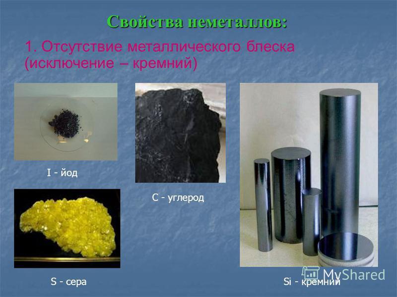 Свойства неметаллов: 1. Отсутствие металлического блеска (исключение – кремний) I - йод C - углерод S - сера Si - кремний