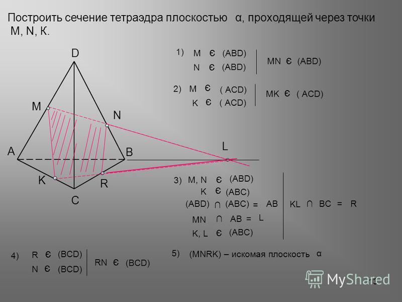 Построить сечение тетраэдра плоскостью, проходящей через точки М, N, К. α А В С D 13 N M K L МNМN AB = L R KL BC = R α5)5) (MNRK) – искомая плоскость K, L (ABC) є RN (BCD) є ( АСD) 2)2)М є K є (ABD) (ABC) = AB (ABC) K є (ABD) 3) М, N є MK ( АСD) є MN
