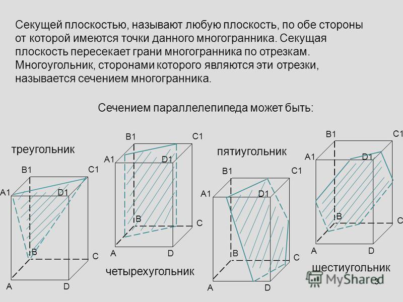 Секущей плоскостью, называют любую плоскость, по обе стороны от которой имеются точки данного многогранника. Секущая плоскость пересекает грани многогранника по отрезкам. Многоугольник, сторонами которого являются эти отрезки, называется сечением мно