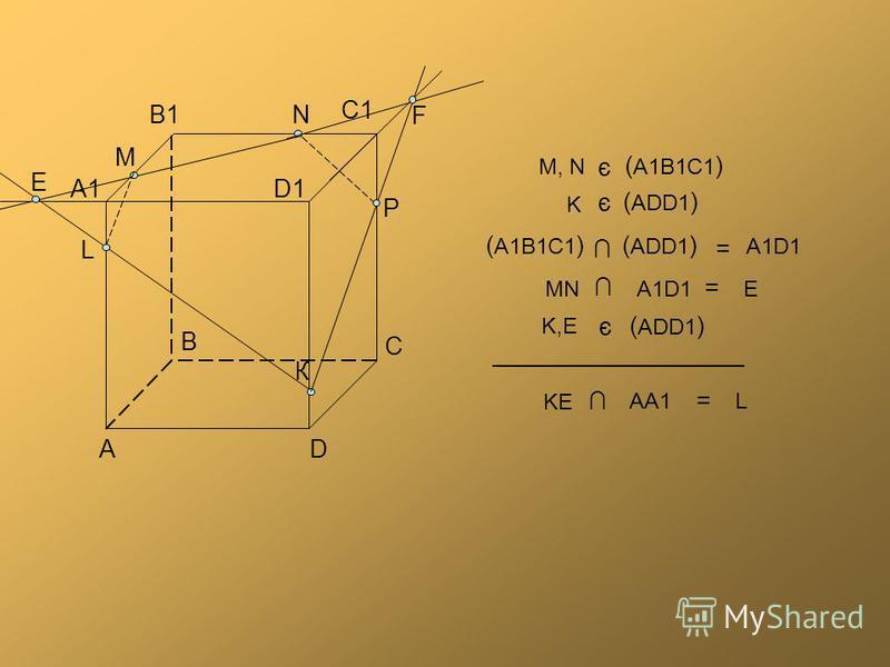 В В1 А А1 С С1 D D1D1 N К М P F E L ( A1B1C1 ) ( ADD1 ) = A1D1 = A1D1 MNE = KE AA1L ( ADD1 ) K є ( A1B1C1 ) M, N є ( ADD1 ) K,EK,E є