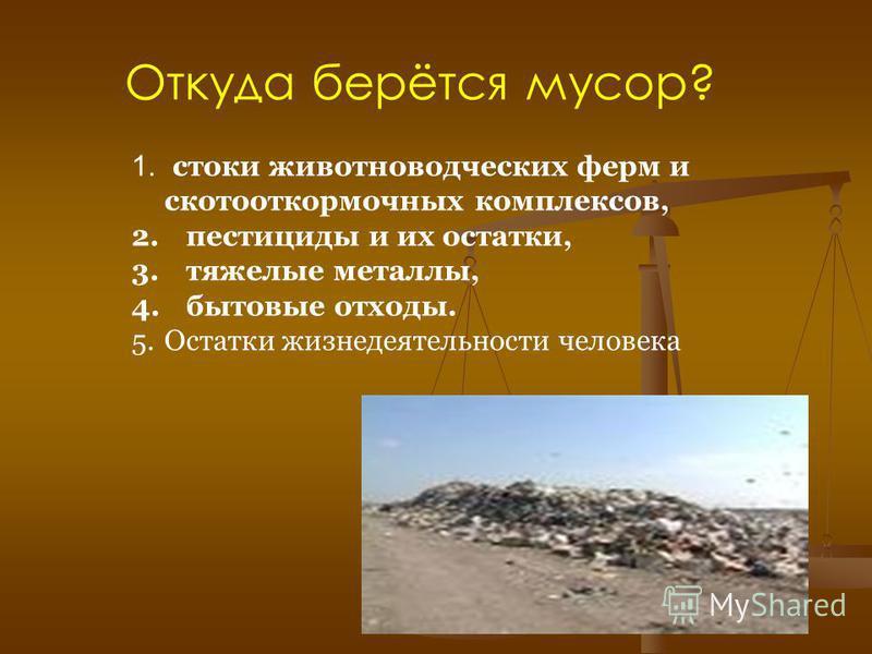 Откуда берётся мусор? 1. стоки животноводческих ферм и скотооткормочных комплексов, 2. пестициды и их остатки, 3. тяжелые металлы, 4. бытовые отходы. 5. Остатки жизнедеятельности человека