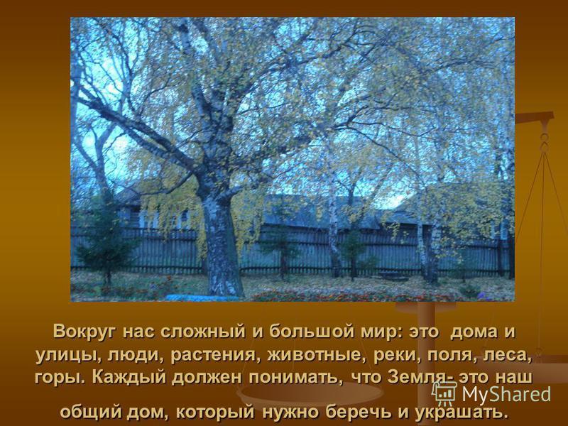 Вокруг нас сложный и большой мир: это дома и улицы, люди, растения, животные, реки, поля, леса, горы. Каждый должен понимать, что Земля- это наш общий дом, который нужно беречь и украшать.