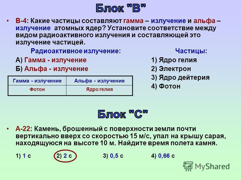 В-4: Какие частицы составляют гамма – излучение и альфа – излучение атомных ядер? Установите соответствие между видом радиоактивного излучения и составляющей это излучение частицей. Радиоактивное излучение: Частицы: А) Гамма - излучение 1) Ядро гелия