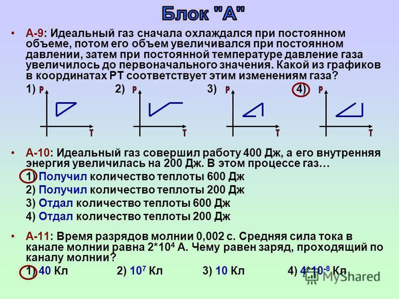 А-9: Идеальный газ сначала охлаждался при постоянном объеме, потом его объем увеличивался при постоянном давлении, затем при постоянной температуре давление газа увеличилось до первоначального значения. Какой из графиков в координатах РТ соответствуе