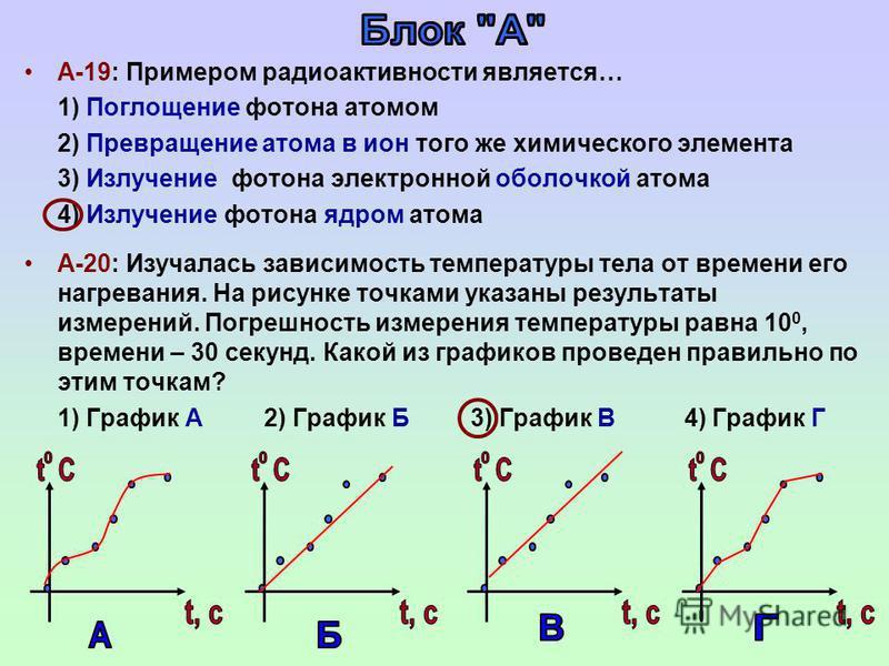 А-19: Примером радиоактивности является… 1) Поглощение фотона атомом 2) Превращение атома в ион того же химического элемента 3) Излучение фотона электронной оболочкой атома 4) Излучение фотона ядром атома А-20: Изучалась зависимость температуры тела