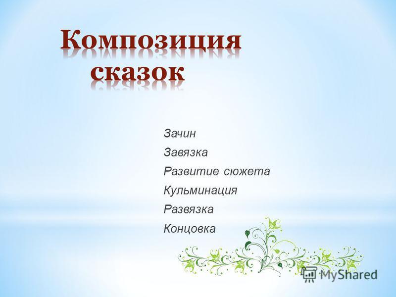 Зачин Завязка Развитие сюжета Кульминация Развязка Концовка